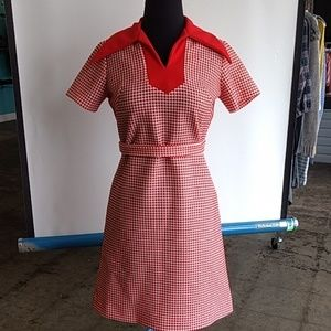 Vintage Sears red and white dress